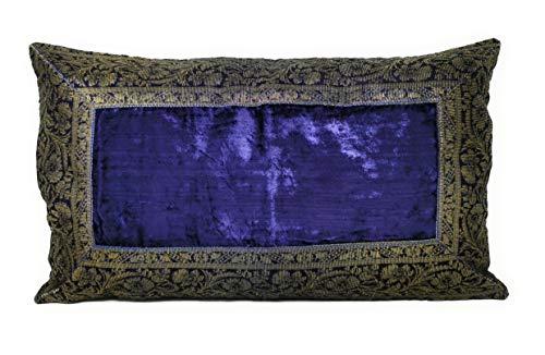 Funda de cojín de estilo hindú de 30 x 50 cm. Funda oriental de la India, azul marino, 30 x 50 cm
