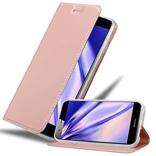 Cadorabo Hülle für Huawei G7 Plus / G8 / GX8 in Classy ROSÉ Gold - Handyhülle mit Magnetverschluss, Standfunktion & Kartenfach - Hülle Cover Schutzhülle Etui Tasche Book Klapp Style