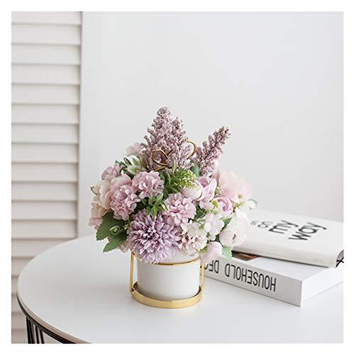 Youpin Hängende Blumen-Art Hybrid Hydrangea rosa Seide Pfingstrose Set Vase Innen Artificial Home Decoration 1 Stück 1 Flasche (Color : Style5)