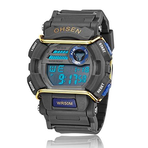 Ohsen Men's Multi-function Waterproof Backlight Display Quartz Sports Watch with Stopwatch/Date/Alarm (1602 Blue+Black)