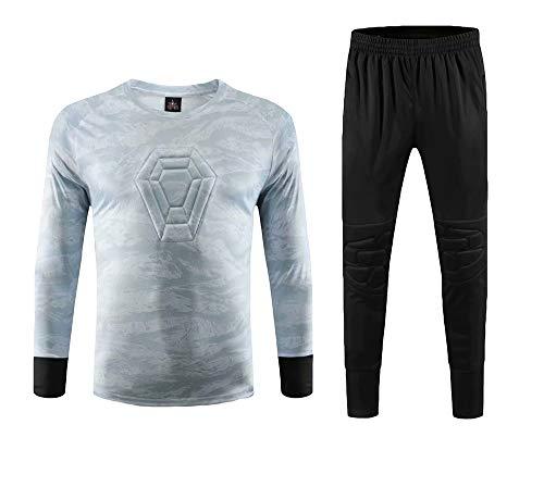 Torwart Trikot Jungen Herren Kinder Fußball Kit Torwart Training Langärmlige Uniform Anzug Männer Jungen,Gray,28(155-165cm)