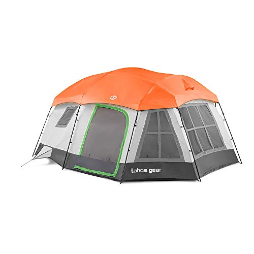 Tahoe Gear Ozark TGT-OZARK-16-C Large 16 Person 3 Season Family Camping Cabin Tent, Beige