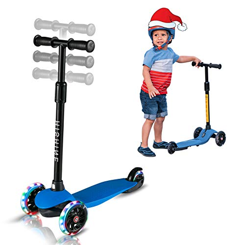 Kick Scooter for Kids Boys Girls 3 Wheel Scooter for Toddler for 25 Years Old Adjustable Height Light Up Flashing Wheels Removable Handlebar Lean to Steer Easy to Carry Blue