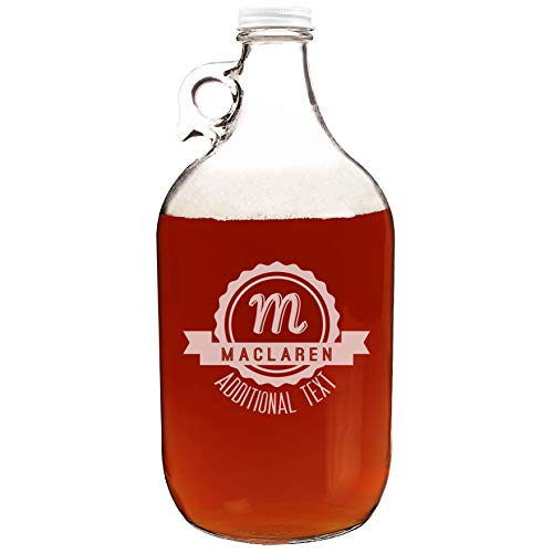 Personalized Etched Monogram 64oz Clear Glass Growler