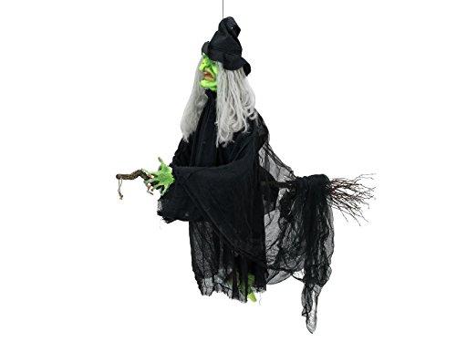 Figura de bruja con escoba y voz de Bruja, movimiento.