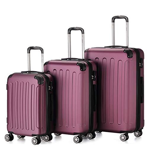Flexot 2045 3er Reisekoffer Set - Farbe Lila (Violett) Größe M L XL Hartschalen-Koffer Trolley Rollkoffer Reisekoffer 4 Rollen
