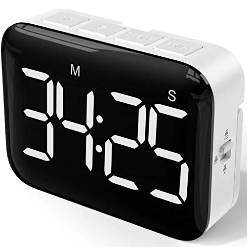 NOKLEAD Digital Kitchen Timer - Magnetic Countdown Count Up Timer with Large LED Display, 2 Brightness, Loud Volume, Easy for Cooking and for Kids Teachers and Seniors to Use (Batteries Included)