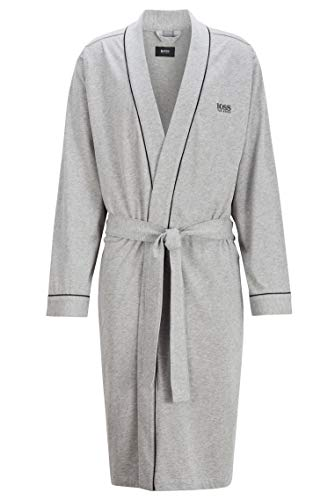 BOSS Herren Kimono BM Bademantel, Grau (Medium Grey 33), Large (Herstellergröße: L)