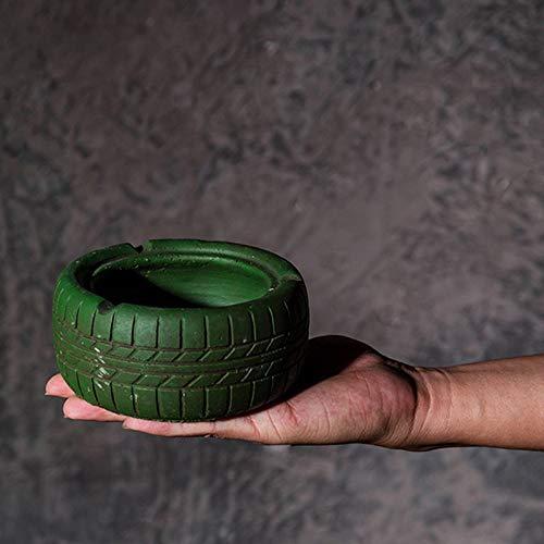 CLDyuffjgk Personalidad Creatividad Retro Pastoral Cemento Neumático Cenicero Decoraciones y Decoraciones (Color : Green)