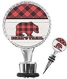 Lumberjack Plaid Wine Bottle Stopper (Personalized)