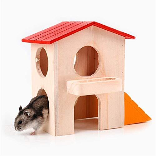 NOCEVCX Camas hámster Pequeños Animales Escondite del hámster Casa de Madera Hut juego juguetes masticables for animales pequeños como hámster enano (Color: El color del cuadro, Tamaño: 11x7.5x14.5cm)