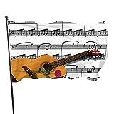 WDDHOME Musik Gitarre Musiknoten Design Rosa Instrument Lustige Hof Flagge Haus Dekorative Fahnen 3x5 Füße Lebendige Farben Qualität Polyester Und Messing Ösen