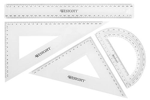 Westcott E-10304 00 Mathe-Set, 4-teilig, Kunststoff transparent