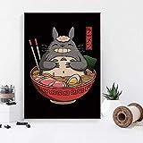 QINGRENJIE Katze Japanische Ramen Sushi Große Welle Kunst