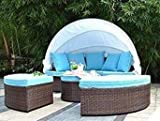 Bellagio 4-piece Outdoor Daybed Sectional Set (light blue)