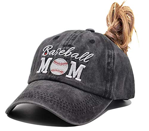 HHNLB Baseball Mom 1 Vintage Jeans Baseball Cap for Men and Women (Embroidered Ponytail Black, One Size)