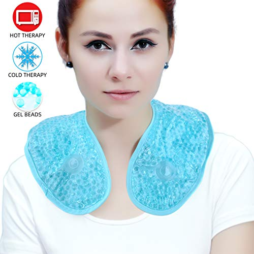 Ice Packs for Neck Shoulder,Reusable Gel Beads Cooling Neck Wrap with Soft...