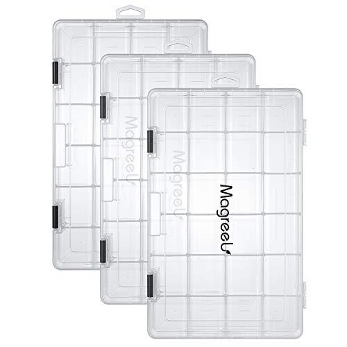 Magreel Caja de señuelos de Pesca Caja de Aparejos de Pesca Bandeja de Plástico Transparente Organizador de Almacenamiento para Pesca, Aparejos