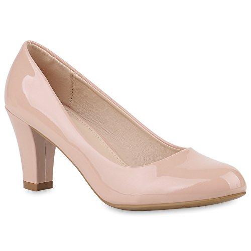 Damen Pumps Klassische Pumps Lack Elegante Business Schuhe 144839 Rosa Lack 37 Flandell