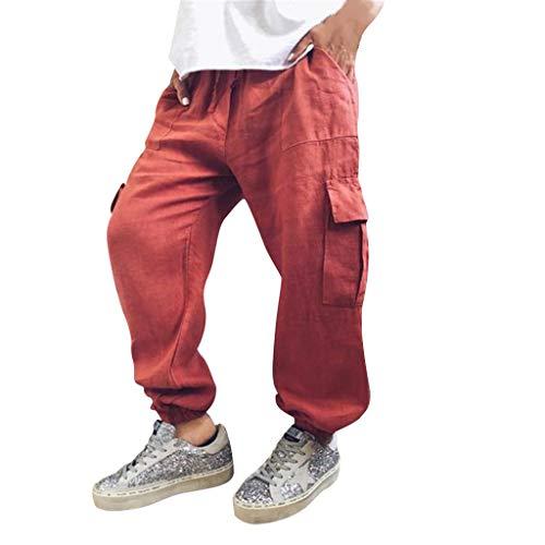 Overdose Pantalones Hombre Tendencia Hip Hop Pantalones Sueltos De Lino para Mujer Pantalones De Color Liso con Cordón Pantalones De Moda Pantalon Militar Hombre