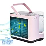Portable Air Conditioner Fan, Personal Air Cooler Desk Fan Built in 2000 MAH Battery with 3 Speeds Suitable for Office, Camping, Kitchen, Bedroom (Pink)