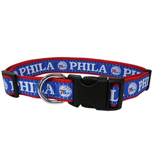 NBA PHILADELPHIA 76ERS Dog Collar, Size Large. Best Pet Collar for all Sports Fans
