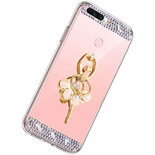 Herbests Compatible con Huawei Honor V9 Funda de Espejo Flexible Diamante a Strass Glitter...
