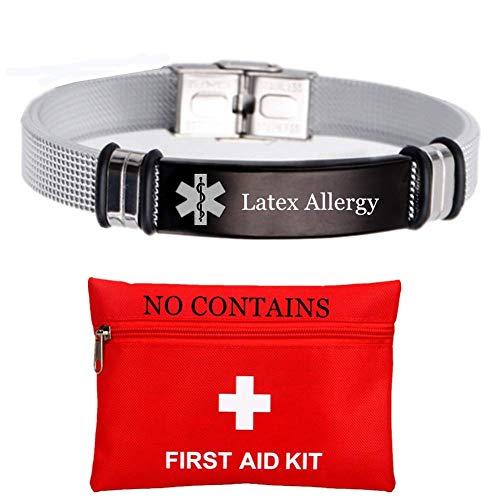 ForeverWill Stainless Steel Mesh Medical Alert Latex Allergy Bracelet for Men Women Personalized Custom Engraved ID Bracelets,Choose Your Type