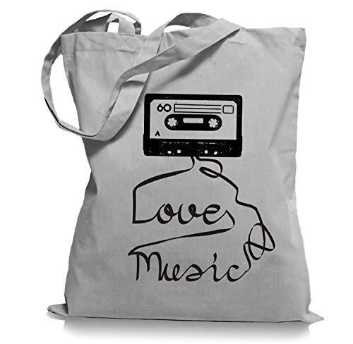 Love Music Cassette 80er Tape Achtziger Stoffbeutel Tragetasche/Bag/Jutebeutel WM1-lightgrey