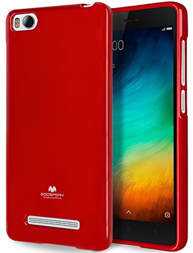Goospery Pearl Jelly for Xiaomi Mi 4i Case (2015) with Screen Protector Slim Thin Rubber Case (Red) XIAMI4I-JEL/SP-RED