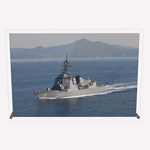 CuVery アクリル プレート 写真 海上自衛隊 護衛艦 DDG-178 あしがら デザイン スタンド 壁掛け 両用 約A3サイズ