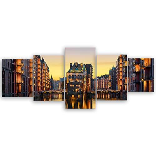 Bilderdepot24 hochwertiges Leinwandbild XXL - Wasserschloss in der Speicherstadt - Hamburg - 200 x 80 cm mehrteilig (5 teilig) 2211 D