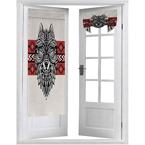 Cortina opaca para puertas francesas, estilo tótem, cara de animal con espirales geométricos triángulos, 2 paneles-66 x 172 cm, tricia cortina para puertas de ventana, color rojo y negro crema
