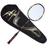 Raquette de badminton légère en fibre de carbone 7 microns avec sac de transport, 68 g, orange