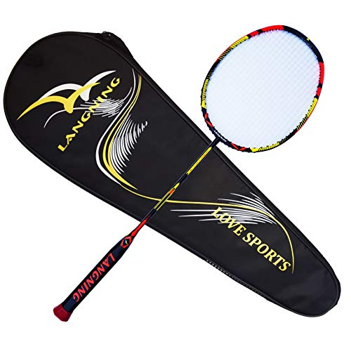 LANGNING Badminton Racquet Light Racket Set Carbon Fiber 7u - 73g