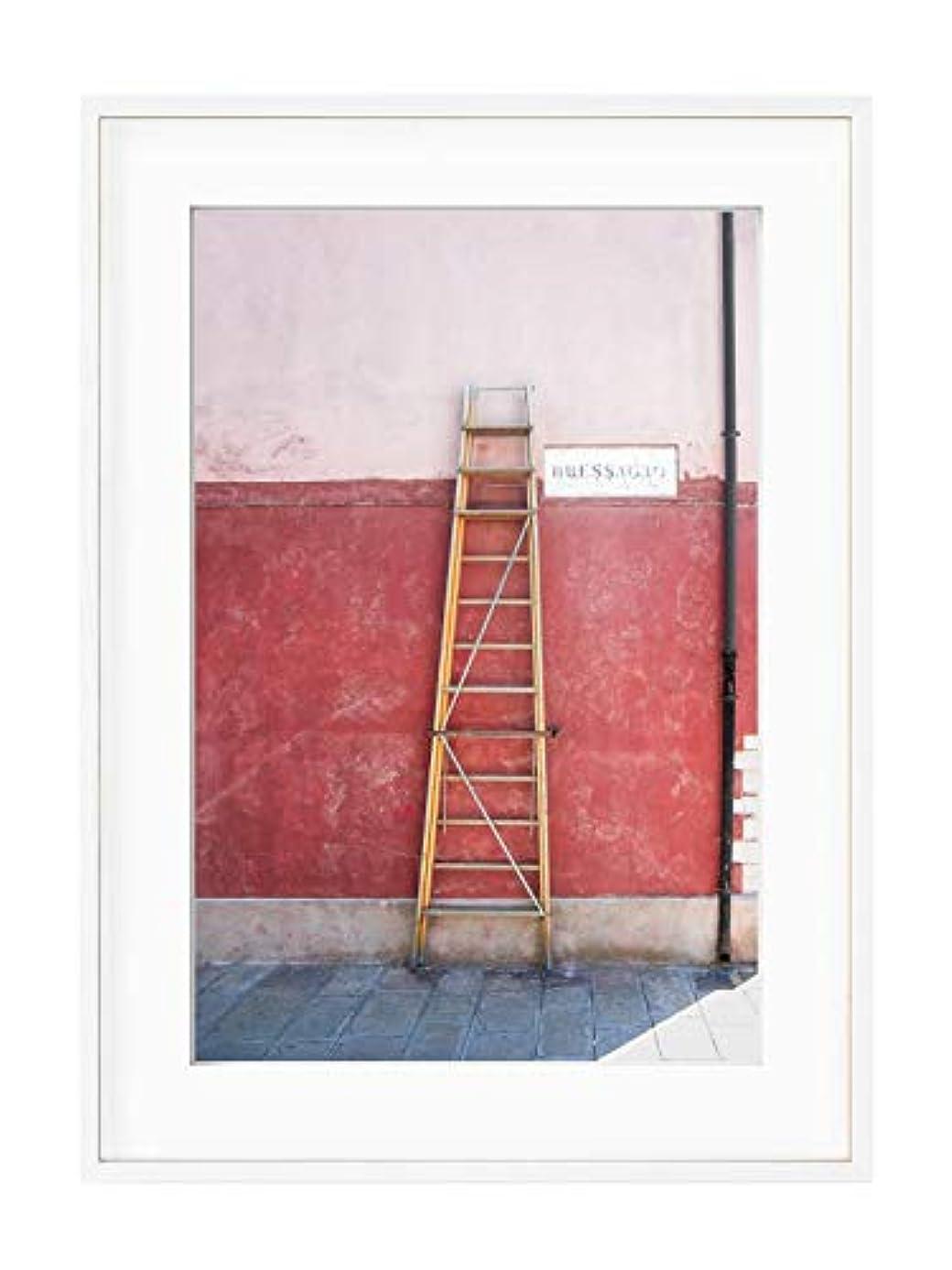 Via Bessagio, Black Satin Aluminium Frame, Full Format, Multicolored, 40x50