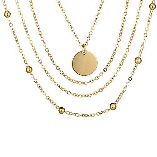KnSam Joyas Collar de Collar de 4 Capas de La Oblea Ajustable Cadena de Múltiples Capas de Chapado en Oro Colgante de Mujer Navidad Collar Oro 56CM