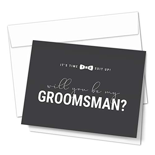 Groomsman Proposal Cards by Hat Acrobat | 8 Will You Be My Groomsman and 2 Best Man Cards with Envelopes | Set of 10 Groomsmen Cards