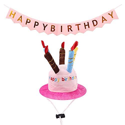 Amasawa Sombrero de Fiesta de Cumpleaños para Mascotas y Pancarta de Feliz CUMPLEAÑOS Rosa para Niña Perro Gato, Mascota Perro Gato Cumpleaños Fiesta Decoraciones Accesorios
