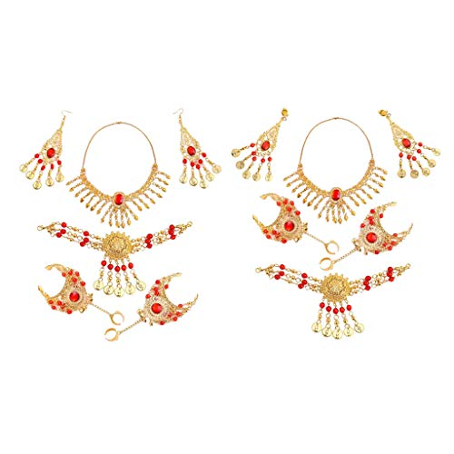chiwanji 2 Sets Orient-Set, Ohrringen, Armband, Stirnband, Kette - Schmuck Set Bauchtanz Modeschmuck