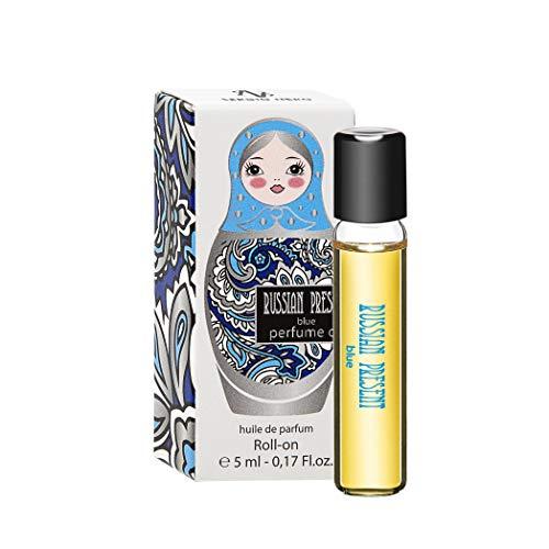 Russian Present Aceite de perfume para mujer, 5 ml roll-on miniatura - Perfume como maquillaje (BLUE)