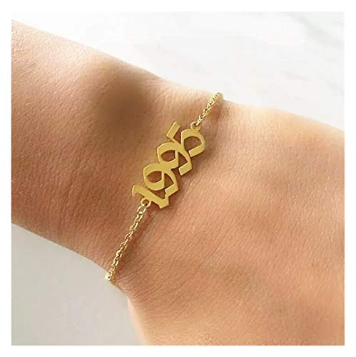 XPWOZ Women's year of birth 1990-2019 anklet (Color : Gold, Size : 2001)