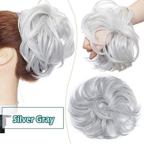 Messy Updo Buns Extension de Cheveux Naturels Cheveux Queue de Cheval Cheveux Chouchous Donut Chignons Postiche Synthétique pour les Femmes Gris Argenté