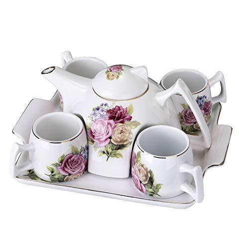 ufengke Flor Juego de Te Porcelana,1 Tetera Grande,4 Tazas de Café con Bandeja,Juego de Cafe Porcelana