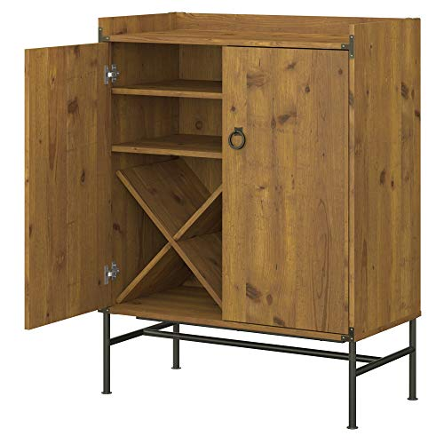kathy ireland Home by Bush Furniture Ironworks Bar Cabinet with Wine Storage in Vintage Golden Pine
