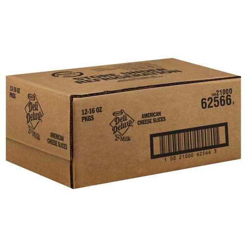 Kraft American Deli Deluxe 2 Percent Processed Cheese Slices, 1 Pound - 12 per case.