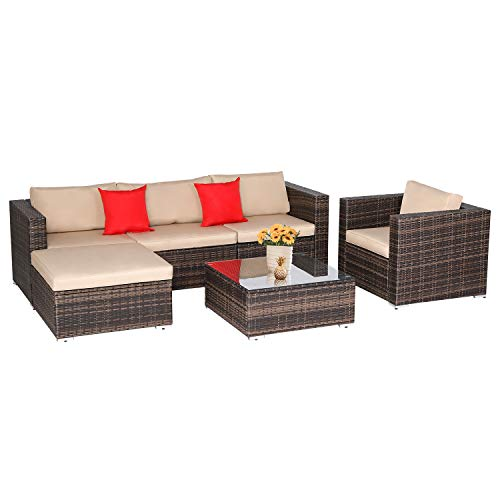 SOLAURA Outdoor Furniture Set 6-Piece Wicker Furniture Modular Sectional Sofa Set Brown Wicker Fiber Soft Beige Cushions with Glass Coffee Table