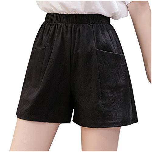 MYDANRAN Linen Shorts for Women Cotton Elastic Waist Loose Pants Solid Color Bandage Casual Summer Wide Leg Pockets Shorts