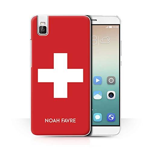 eSwish Personalisiert Persönlich National Nation Flagge 2 Hülle für Huawei Honor 7i/ShotX/Schweiz Schweizer Design/Initiale/Name/Text Schutzhülle/Hülle/Etui