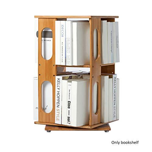 Bureau peut être tourné 360 ° étagère en bois, double couche simple support de bibliothèque domestique (Color : Natural)
